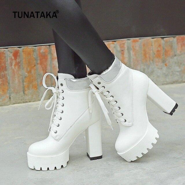 ผู้หญิงรองเท้าสแควร์รองเท้าส้นสูงข้อเท้ารองเท้าแฟชั่น Lace Up ฤดูใบไม้ร่วงฤดูหนาวรองเท้าผู้หญิงสีดำสีขาวสีส้ม 2018