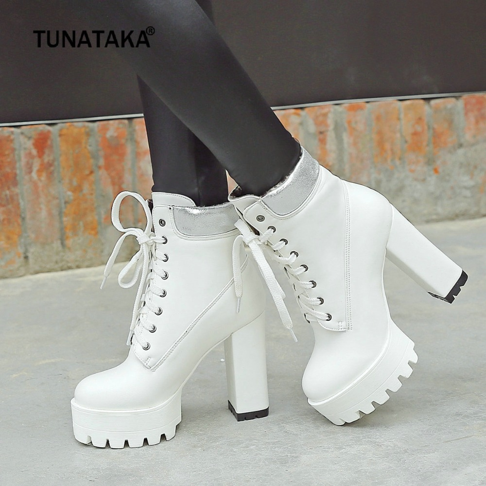 Women Boots Square High Heel Ankle