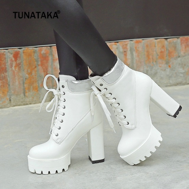 91513a86a861 Women Boots Square High Heel Ankle Boots Fashion Platform Boots Lace Up  Fall Winter Women Shoes Black White Orange 2018