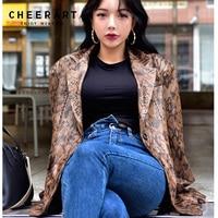 Cheerart Snake Print Leather Blazers Women Leather Jacket And Coats Green Brown Ladies Korean Snake Skin Blazer Femme