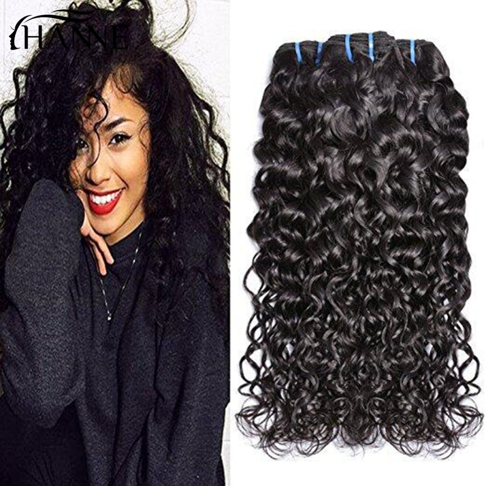 HANNE Human Hair Indian Water Wave 100% Human Hair Weave Bundles 1B# Natural Hair Extensions Non Remy Hair 1pc Can Be Dyed