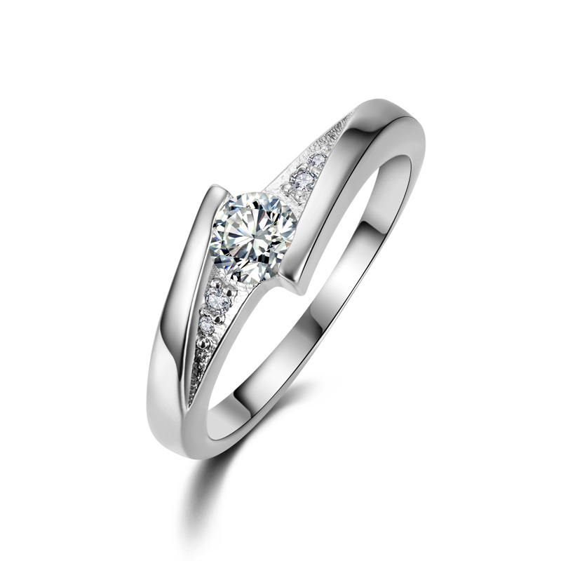 JEXXI New Original Design Cubic Zircon Crystal Sterling Silver Rings For Female Fashion Bridal Wedding Engagement Rings Jewelry