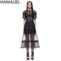 HAMALIEL Self Portrait Party Dress 2017 Runway Summer Women Black Lace Hollow Out Short Sleeve Female