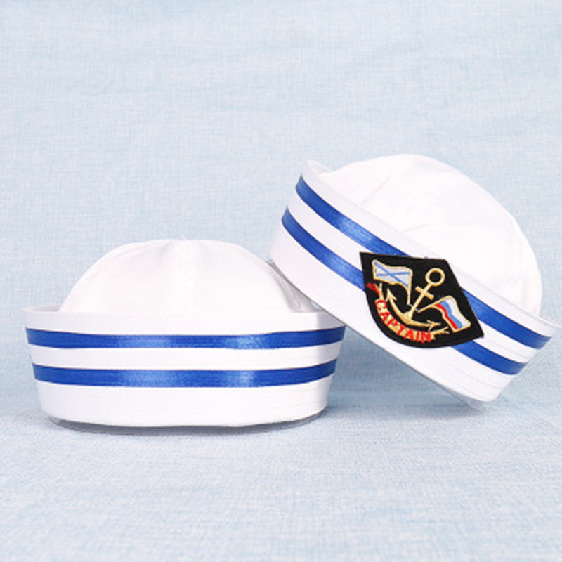 Vintage White Captain Sailor Hats Army Cap Ship Boat Military Hat Navy Marine Caps With Anchor Sea Hats For Women Men Child VL
