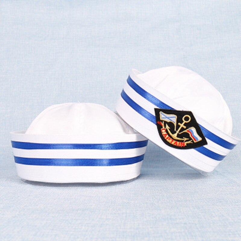 2592f59d018a Vintage blanco capitán marinero sombreros ejército barco militar sombrero  Marina gorras con ancla mar sombreros para mujer hombres niño VL