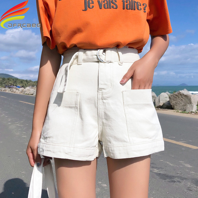 New 2019 Black White And Blue Denim Shorts Women With Belt Street Style Pockets Short Jeans Shorts High Waist Ladies Short Pants