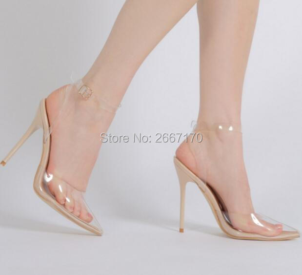Mujer Clear High Heel PVC Pointed Toe Sandals Buckle Strap Heeled  Beige Black Silver Edges Stilettos New Summer Hot Sandals