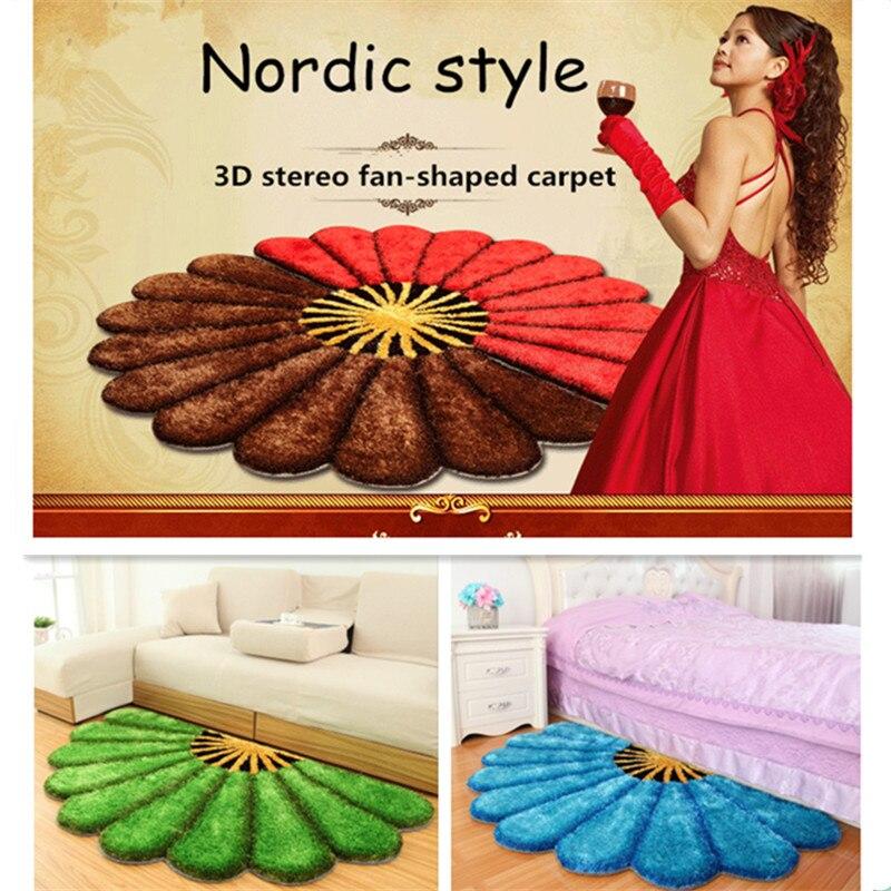 Coréen soie 3D en forme d'éventail chambre tapis pour salon et zone jardin style stretch fil tapis chambre tapis tapis de sol