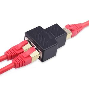 Image 2 - 1 ila 2 yollu RJ45 ethernet lan ağı Splitter çift adaptörü bağlantı noktaları çoğaltıcı bağlayıcı genişletici adaptör fiş konnektörü adaptörü