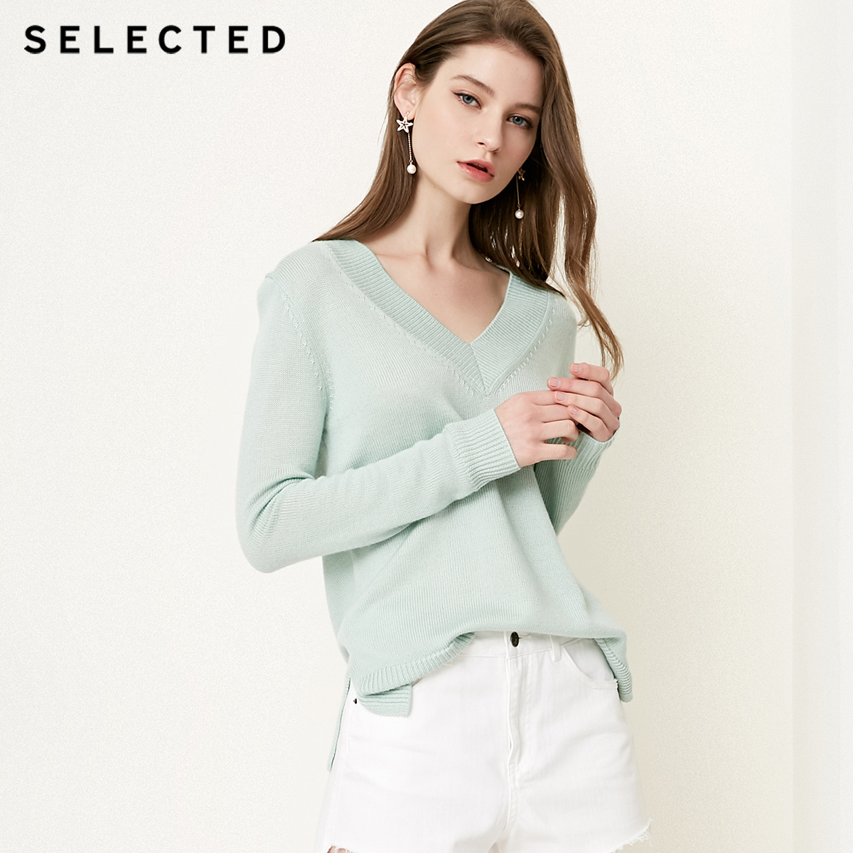 SELECTED Women s Wool blend V Neckline Pure Color Pullover S 418324508
