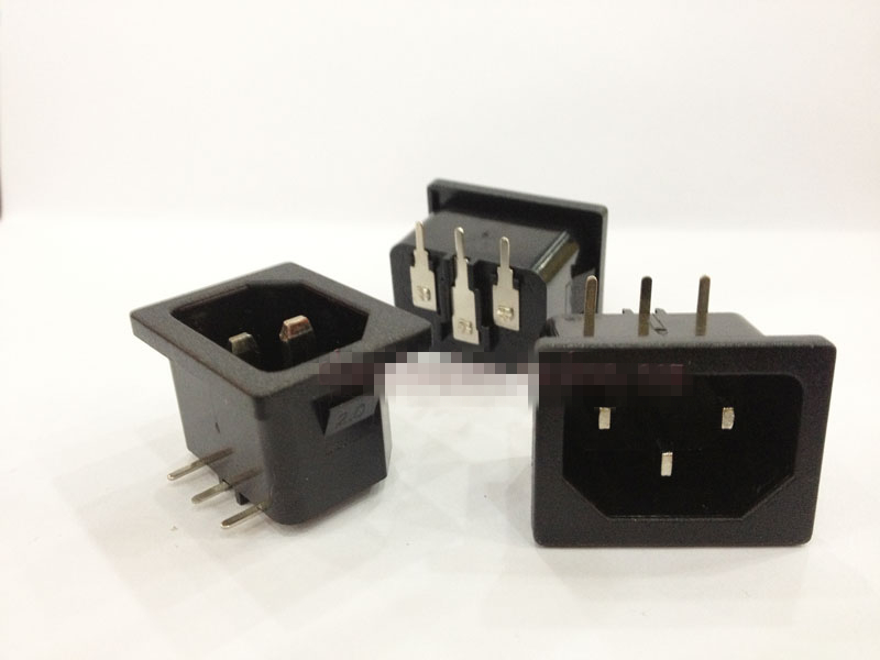 5pcs or 10Pcs White or Black AC 250V 10A IEC 320 C14 Male Plug 3 Pins PCB Panel Power Inlet Socket Connector 120-B05 5pcs iec320 c8 black 2 terminal power plug inlet socket ac 250v 2 5a