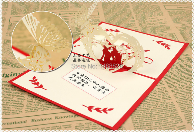 Happy lovers 3d paper greeting christmas card valentine greeting happy lovers 3d paper greeting christmas card valentine greetingchristmas birthdaythank m4hsunfo