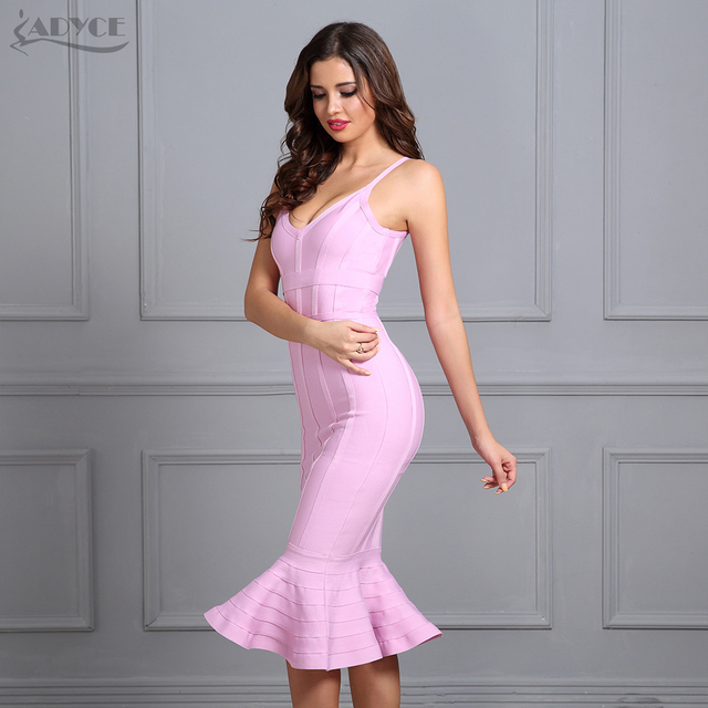 Adyce 2017 Women Summer Bandage Dress Pink Spaghetti Strap Mermaid Vestidos V-Neck Knee Length Celebrity Evening Party Dresses