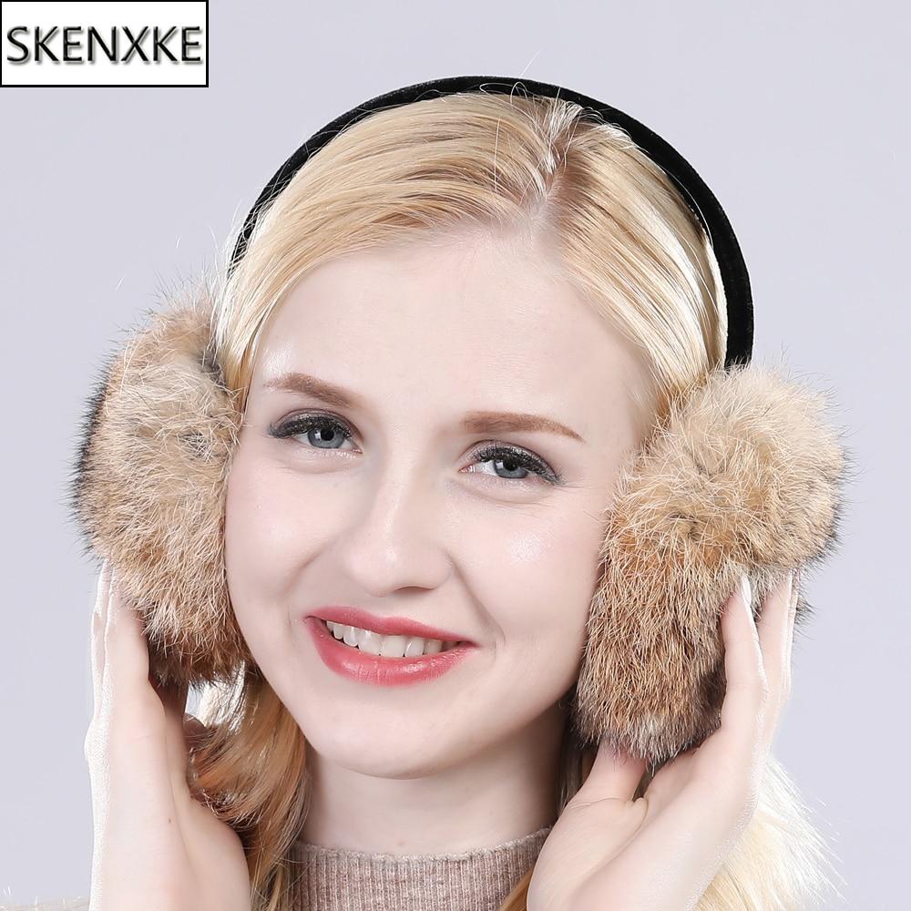 Fashion Trendy Winter Genuine Real Rabbit Fur Earmuff Women Winter Warm Soft Rabbit Fur Earmuffs Russia Girls Real Fur Earmuffs