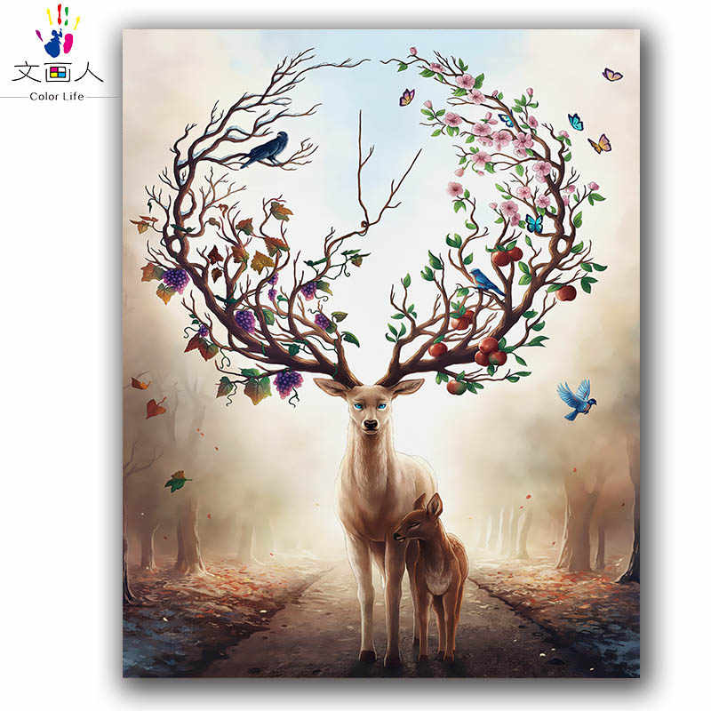Coloring by numbers Forest Deer diy digital oil painting by numbers animals scenery paint by numbers for living room hoom decor