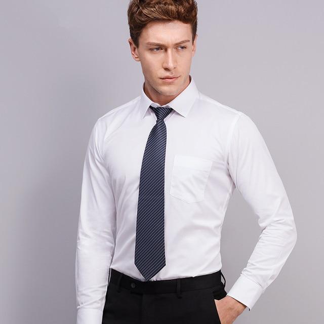 2019 Men Dress Shirt Long Sleeve Slim Brand Man Shirts Designer High Quality Solid Male Clothing Fit Business Shirts 4XL YN045 2