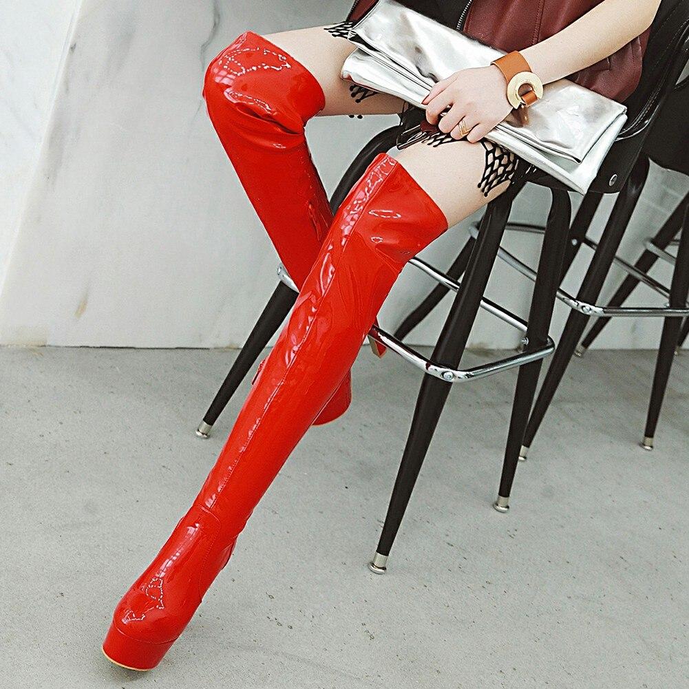 Mujer Plataforma Super Más Rodilla Zapatos Botas Negro Invierno Tamaño Nueva plata Doratasia Mujeres 34 Largo Moda rojo Sobre 47 Tacones oro Sa7Ewpvq