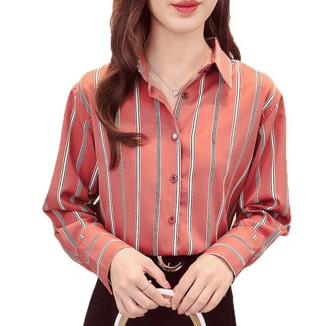 Women Blouses Shirts Women Tops Casual Loose Autumn Striped Long Sleeve Female Ladies Office Blouse Shirt Women Blusas Femininas