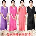 Envío libre del otoño del Resorte más el tamaño 100% algodón modal ultra largo camisón femenino de manga corta media manga de la princesa ropa de dormir