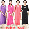 Free shipping Spring autumn plus size 100% cotton modal ultra long nightgown female short-sleeve half sleeve princess sleepwear