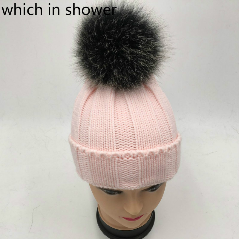 which in shower Children Real Black Fox Fur Pompom Winter Hat Cap Brand  Warm Knitted Bobble Fur Pom Pom Hat Beanie For Kids Girl-in Skullies    Beanies from ... 3a68b5d6038b