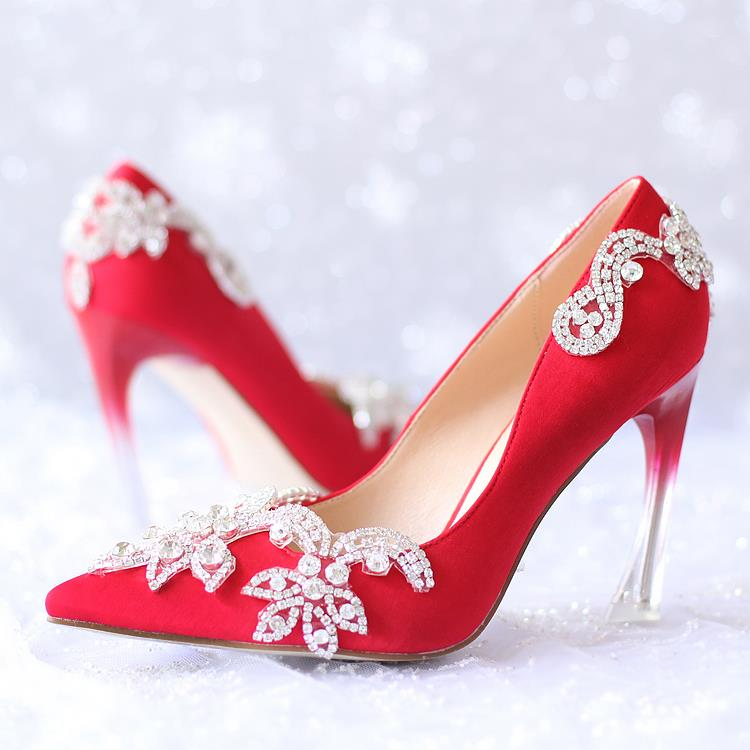 1111 rhinestone shoes flower bridal shoes strange style high-heeled pumps shoes formal dress shoes pointed toe red silks