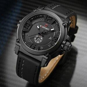 Image 3 - NAVIFORCE 9099 Mens שעונים למעלה מותג יוקרה ספורט קוורץ שעון עור רצועת שעון גברים עמיד למים שעוני יד Relogio Masculino