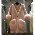 Woman Lambs Wool Fur Coat Deep V-neck Medium Long Merino Fur One Piece Jacket With Real Fox Fur Pocket
