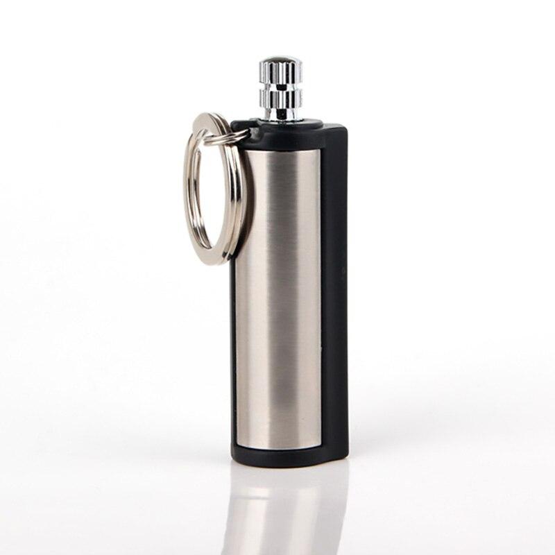 1 PC Di Modo Permanente Partita Attacco rettangolare Olio Accendini con la Catena Chiave D'argento In Tutto Il Mondo Fiammifero Accessori per sigarette