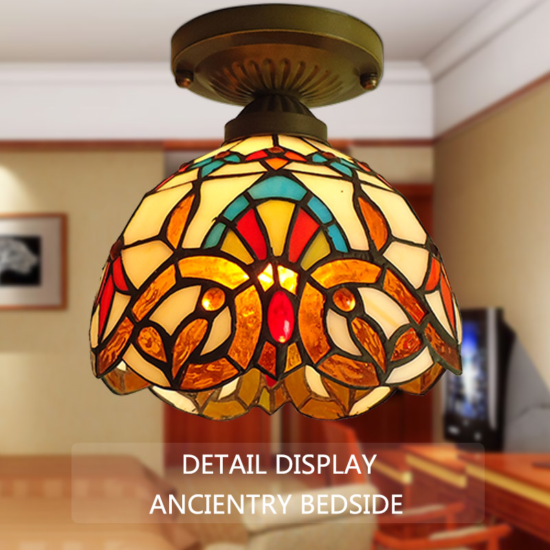 style  ancient Mediterranean small ceiling lamps, aisle lights Lamp Tiffany lamp inside the American village loft style metal cage ceiling lights hotel corridor creative ceiling lamps restaurant aisle balcony kitchen for home lighting
