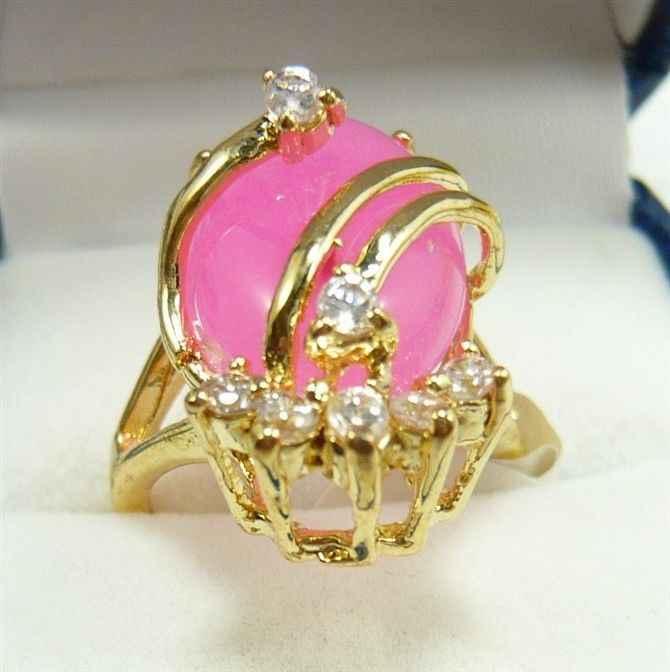 Charmming สีชมพูหยกแหวนเครื่องประดับ (#7 8 9)