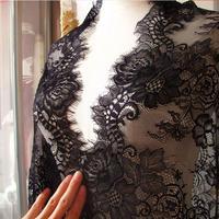 Exquisite lace trimming for dress Black eyelash lace jacquard lace 65cm decoration material