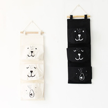 Lovely Cartoon Wall Hanging Storage Bags with 3 Pockets Cotton Fabric For Toys Books Cosmetic Sundries Organizer Bag