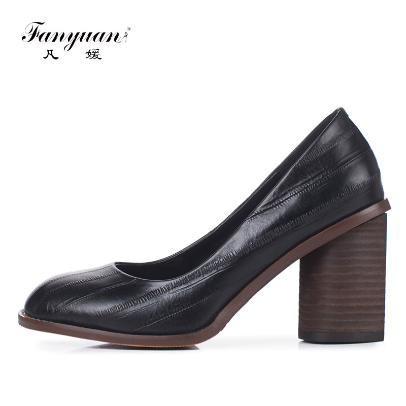 2018 Fanyuan/Весенняя женская обувь в стиле ретро с круглым носком; женская обувь на высоком каблуке в сдержанном стиле из натуральной кожи; Офисн
