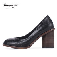 2018 Fanyuan Spring ladies shoes Retro Round toe women's high heels Concise Genuine Leather Office lady dress shoes Brown Black