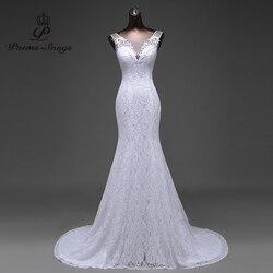 Бесплатная доставка, элегантные красивые кружевные платья Русалочки с цветами, платье для свадьбы