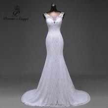 Gorąca sprzedaż bezpłatna wysyłka eleganckie piękne koronkowe kwiaty suknia ślubna syrenka 2020 vestidos de noiva szata de mariage suknia ślubna