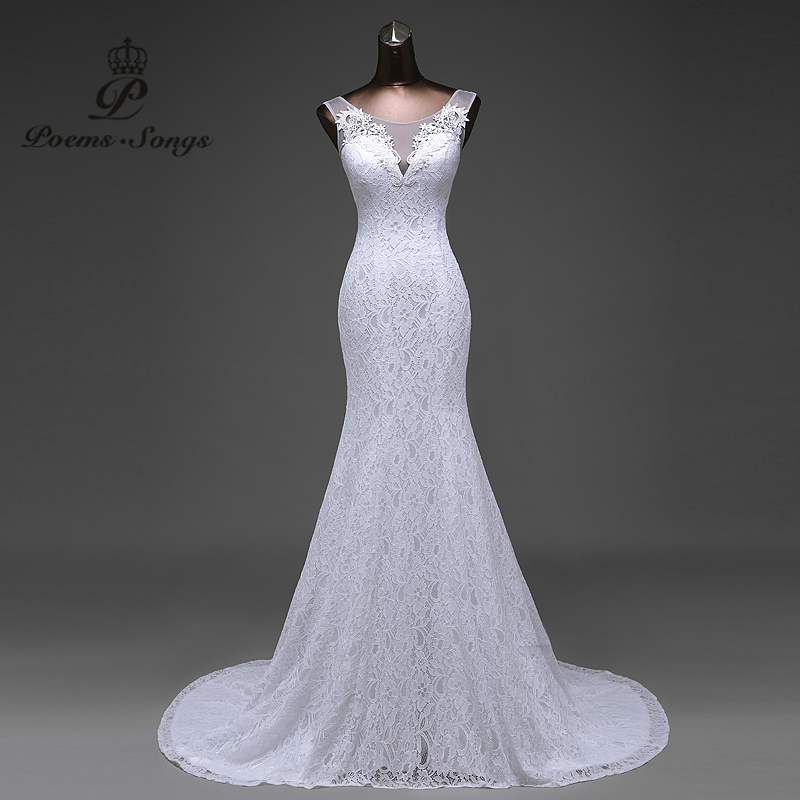 Hot sale free shipping Elegant beautiful lace flowers mermaid Wedding - Wedding Dresses