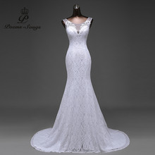 Hot sale free shipping Elegant beautiful lace flowers mermaid Wedding Dresses vestidos de noiva robe de mariage bridal dress(China)