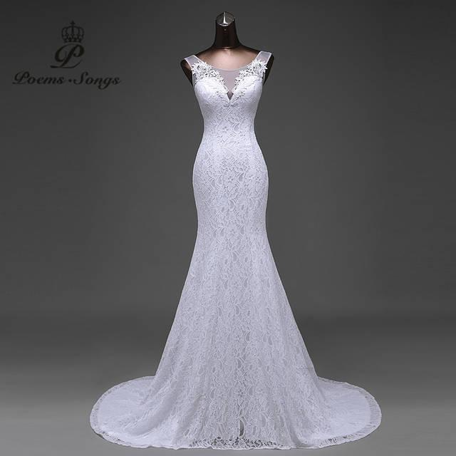 addc823846dd38 Hot sale frete grátis Elegante bonito flores de renda sereia vestidos de  Casamento vestidos de noiva robe de mariage vestido de noiva