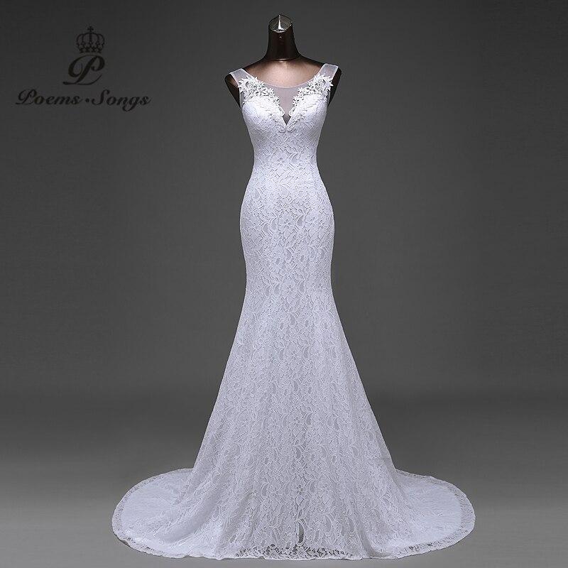 Offre spéciale livraison gratuite élégante belle dentelle fleurs sirène robes de mariée robes de noiva robe de mariage robe de mariée