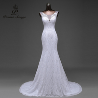 Real Photo Free Shipping Lace Flowers Very Sexy Backless Mermaid Wedding Dresses Vestidos De Noiva Robe