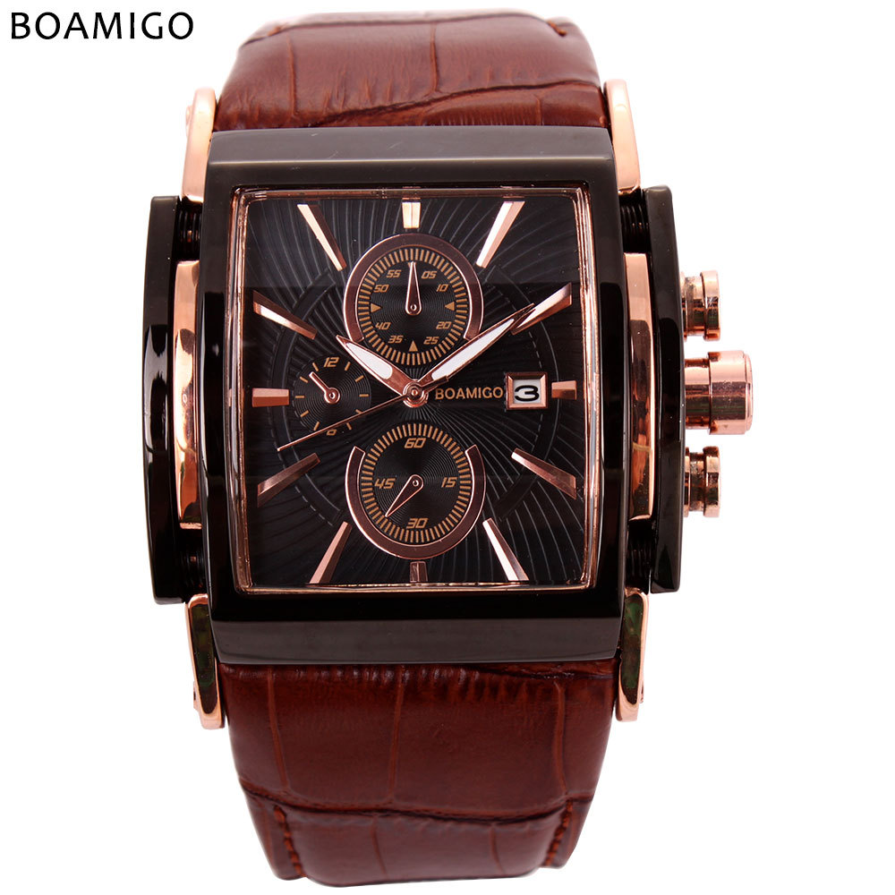 mens sport quartz wristwatches square genuine leather Big dial man watches calendar luminous black brown male clocks luxury