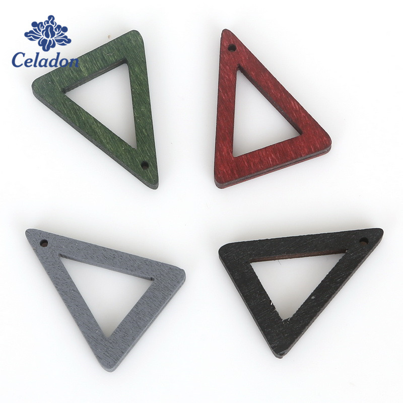 Charms Necklaces Hollow Pendants Bead Jewelry-Findings Earring-Making Triangle Green/grey