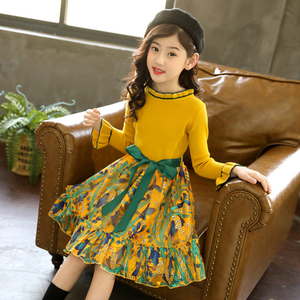 Image 2 - Girls Knitted Dress Autumn Winter Girls Dress Floral Pattern Girls Party Dress Kids Teenage Clothes For Girls 6 8 10 12 13 14