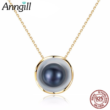 fbcf6b468141 Encanto oro color encanto Conchas diseño blanco negro collar de perlas  colgante 925 plata esterlina Collier bijoux Femme Nueva joyería