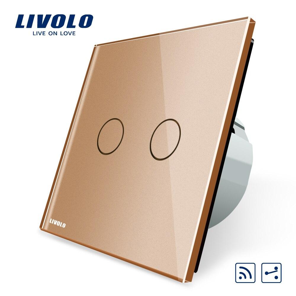 Livolo Tactile interrupteur à distance, 2 Gangs 2 Façon, AC 220 ~ 250 V + indicateur led, VL-C702SR-15, mini À Distance Pas Inclus, VL-C702SR-13