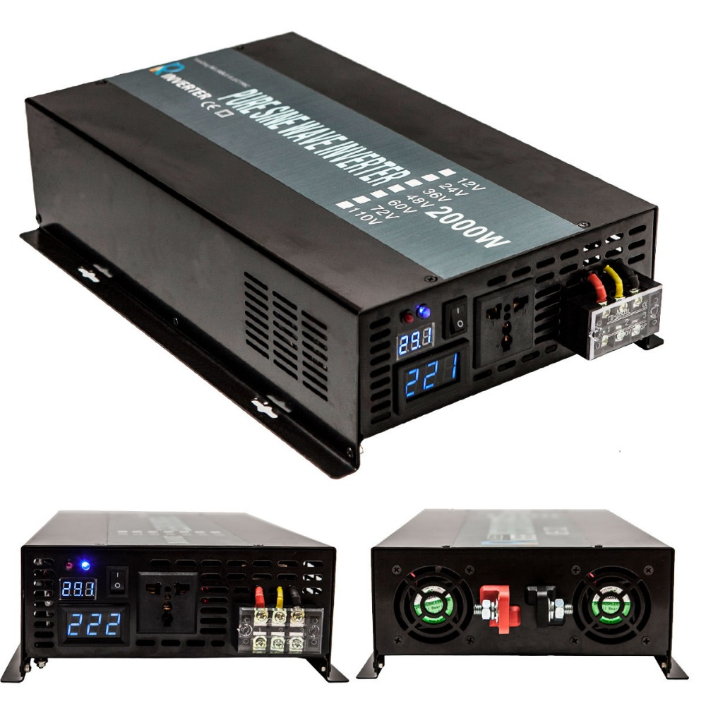 цена на Pure Sine Wave Inverter 24V 220V 2000W Solar Power Inverters Converters Power Supply Transformer 12V/24V DC to 110V/120V/240V AC
