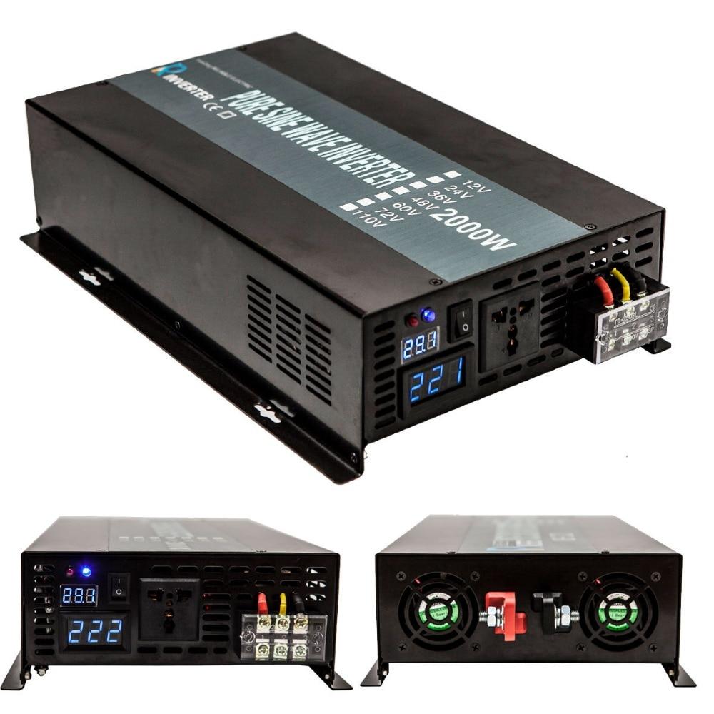 Solar Inverter 2000Watt 12V 220V Pure Sine Wave Power Inverter Converter 12/24V DC to 110V/120V/240V AC Power Supply Transformer 1 pc 1500w 1 5kva step down voltage converter transformer 220v 240v to 110v 120v