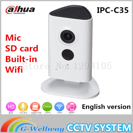 Newest Dahua 3mp Wifi IP Camera IPC-C35 HD 1080p Security Camera Support SD card up to 128GB built-in Mic English version newest dahua 3mp wifi ip camera dh ipc c35p hd 1080p security camera support sd card up to 128gb built in mic english version
